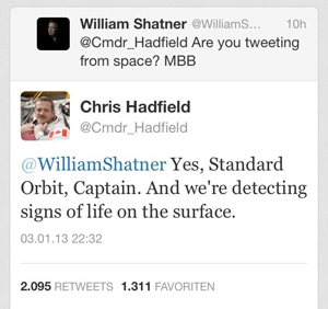 William Shatner und Chris Hadfield