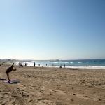 Am Morgen konnte man Gymnastik am Venice Beach beobachten. © Tanja Banner