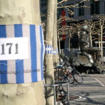 Stoffbinden an der Hauptwache in Frankfurt. © Tanja Banner