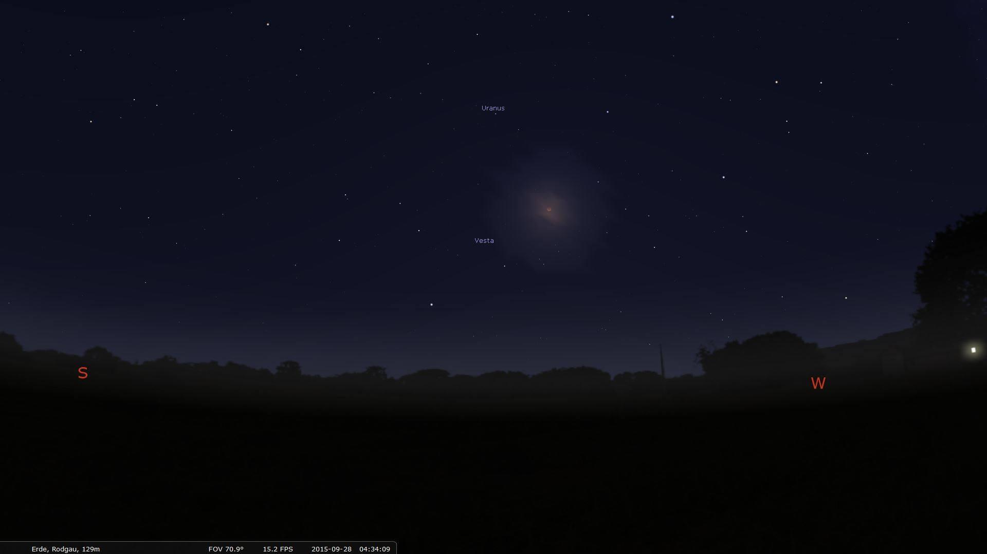 Mondfinsternis-Simulation mit Stellarium. (Foto: Screenshot Stellarium)