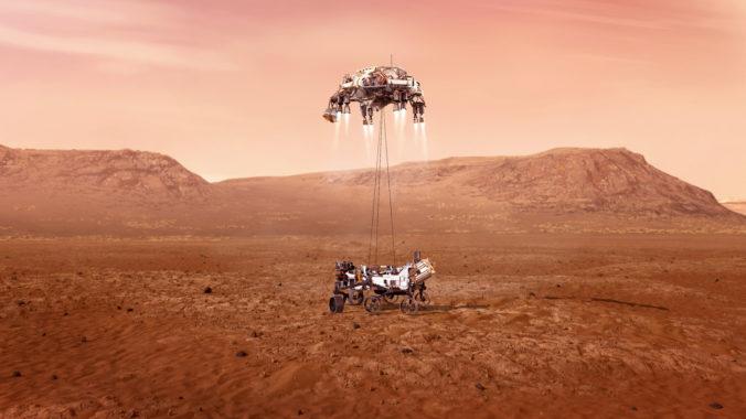 """Der Mars-Rover """"Perseverance"""" beim Skycrane-Manöver kurz vor der Landung. © Nasa/JPL"""